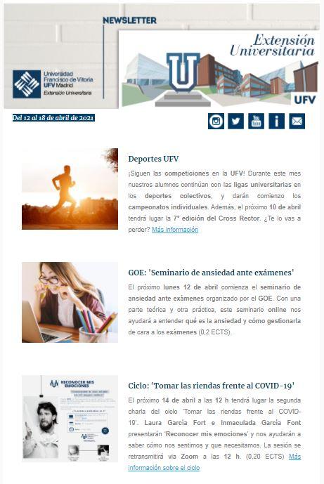 newsletter 12al18abril Extensión Universitaria Estudiar en Universidad Privada Madrid