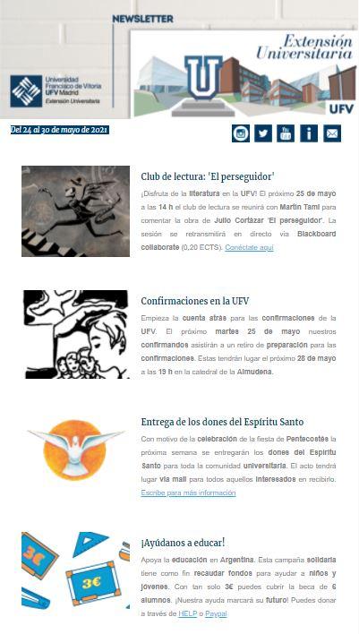 Newsletter 24al30mayo Extensión Universitaria Estudiar en Universidad Privada Madrid
