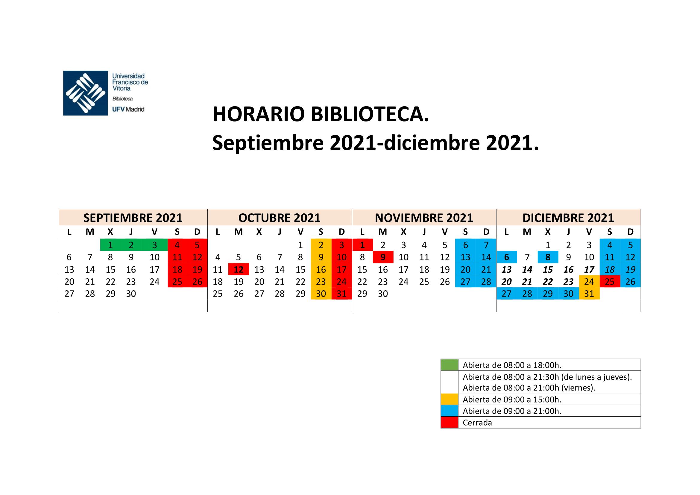 horario septiembre diciembre 1 min Biblioteca Estudiar en Universidad Privada Madrid